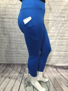 Blue knit capri L