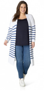 Steel Blue/White Stripe Cardigan size 22/24
