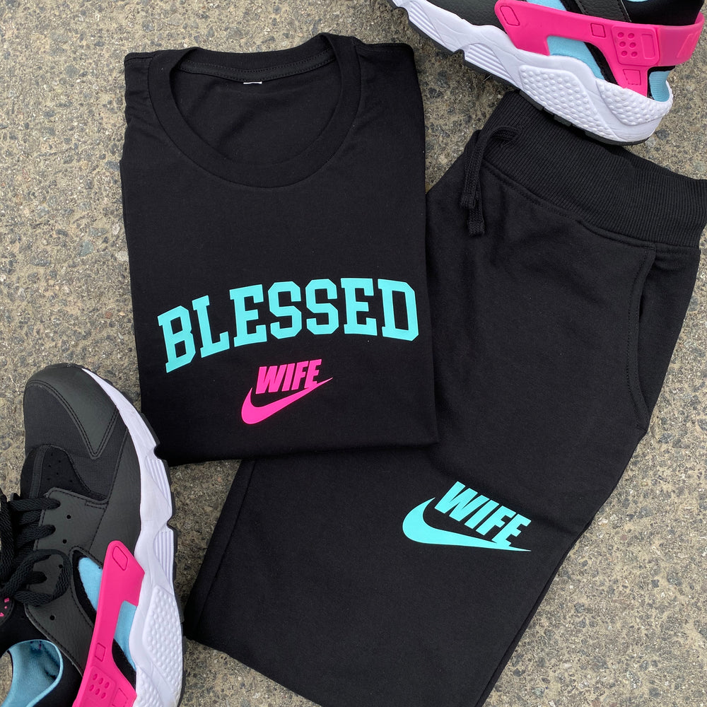 MIAMI BLESSED WIFE TEE/JOGGERS SET