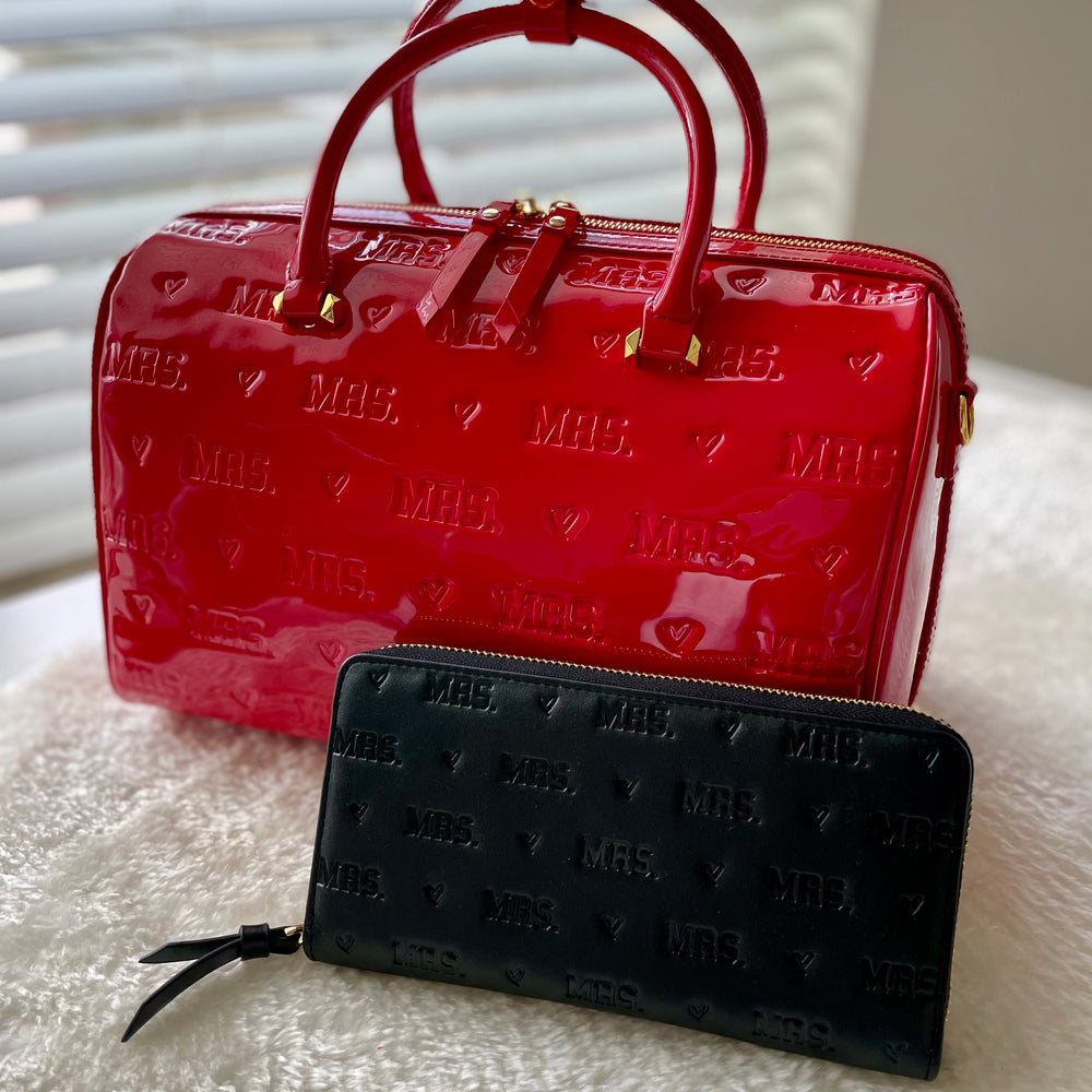$40 RAFFLE: RED PATENT LEATHER MRS. BAG + BLACK MRS. WALLET