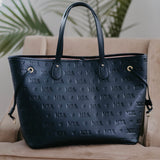 MATTE BLACK EMBOSSED MRS. LIFESTYLE TOTE BAG