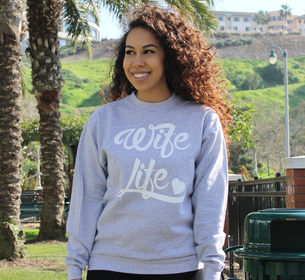 HEATHER GREY WIFE LIFE CREWNECK SWEATSHIRT