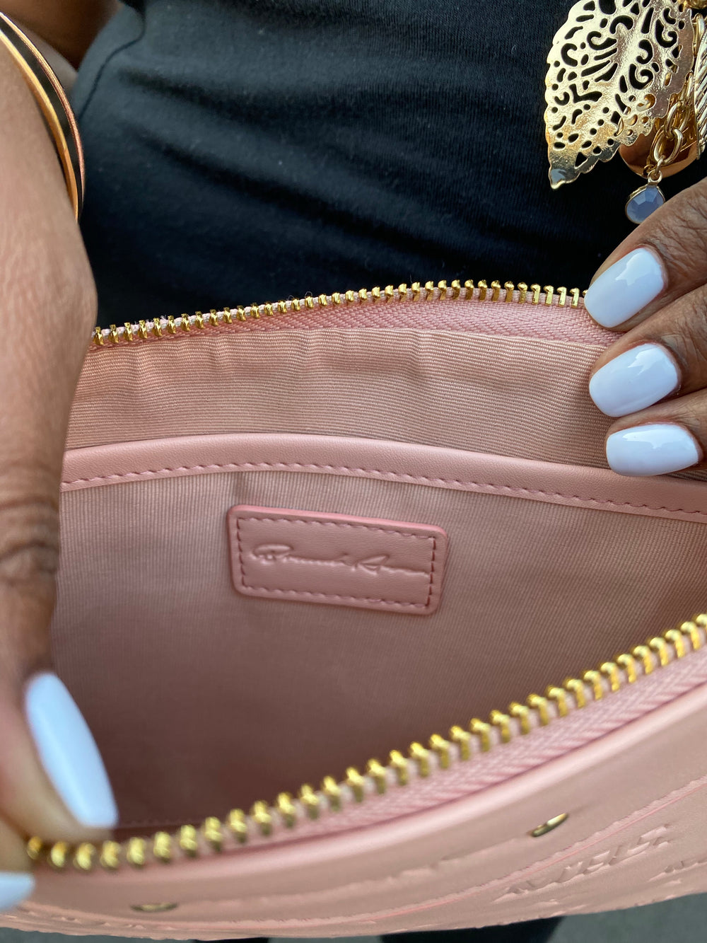 BLUSH PINK EMBOSSED MRS. CLUTCH