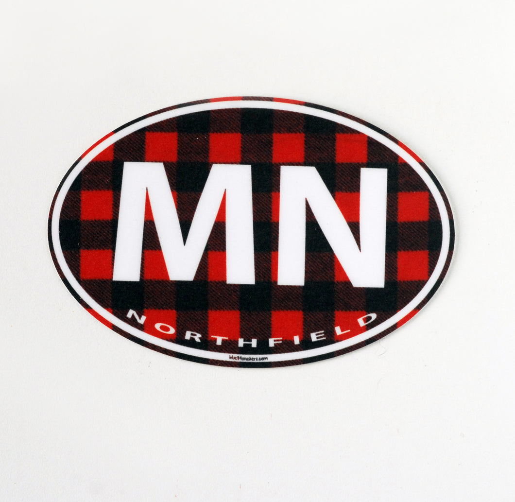 Sticker, Buffalo Plaid MN