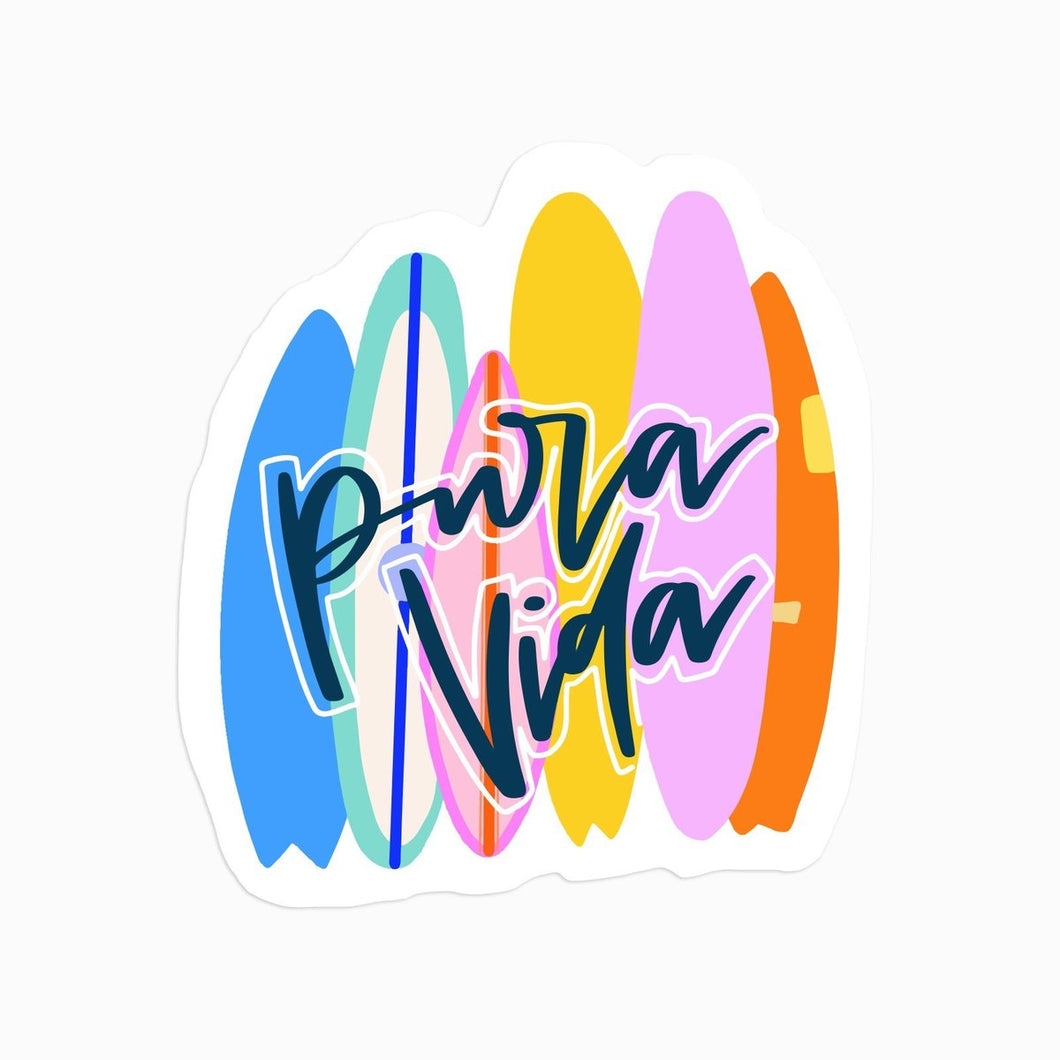 Pura Vida Surf Stack Sticker