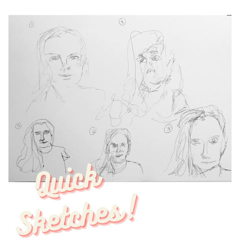 Quick self-portrait sketches only one minute each