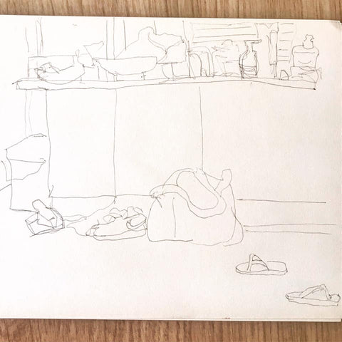10 minute drawing exercise, contour drawing of a room