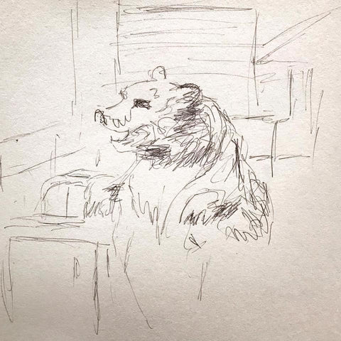 a bear in the kitchen. copy of  drawing of a bear by Frans Snyders (Flemish 1597-1657)