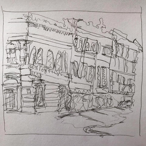 streetscape art exercise, continuous line drawing