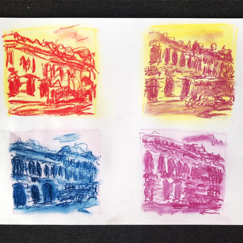 art exercise, two colour sketches of a streetscape
