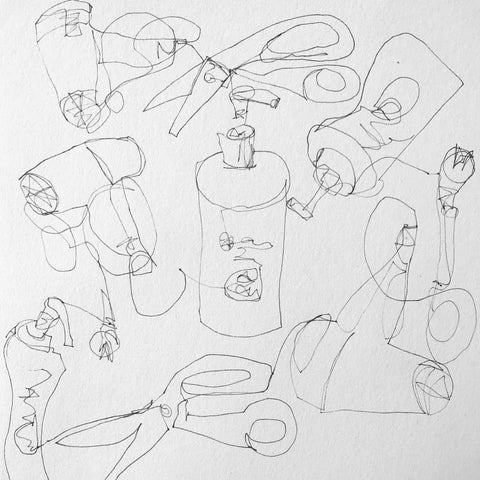continuous line drawing of three objects