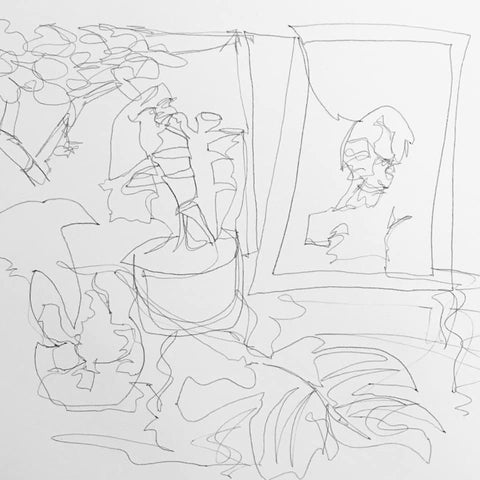 Still-life continuous line drawing by Emily Booth