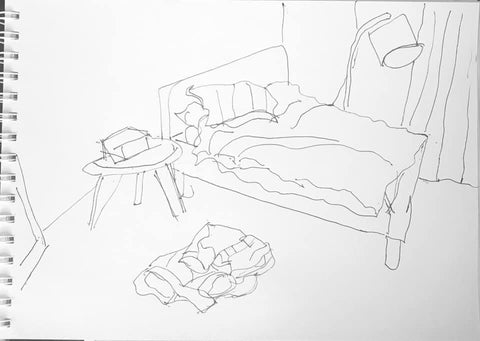 Cotour Drawing of a bedroom