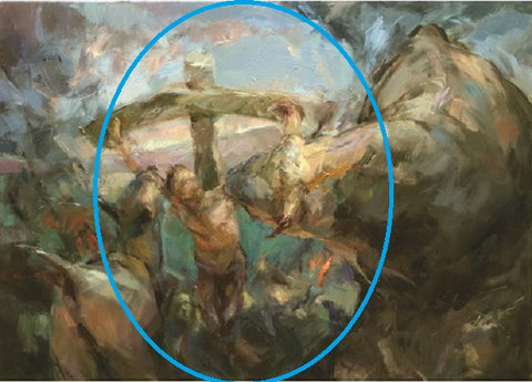 The area of the painting with Christ on the cross has been circled