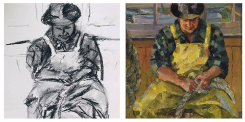 Seated Man in yellow overalls, Lois Mailou Jones, 1939 (American)