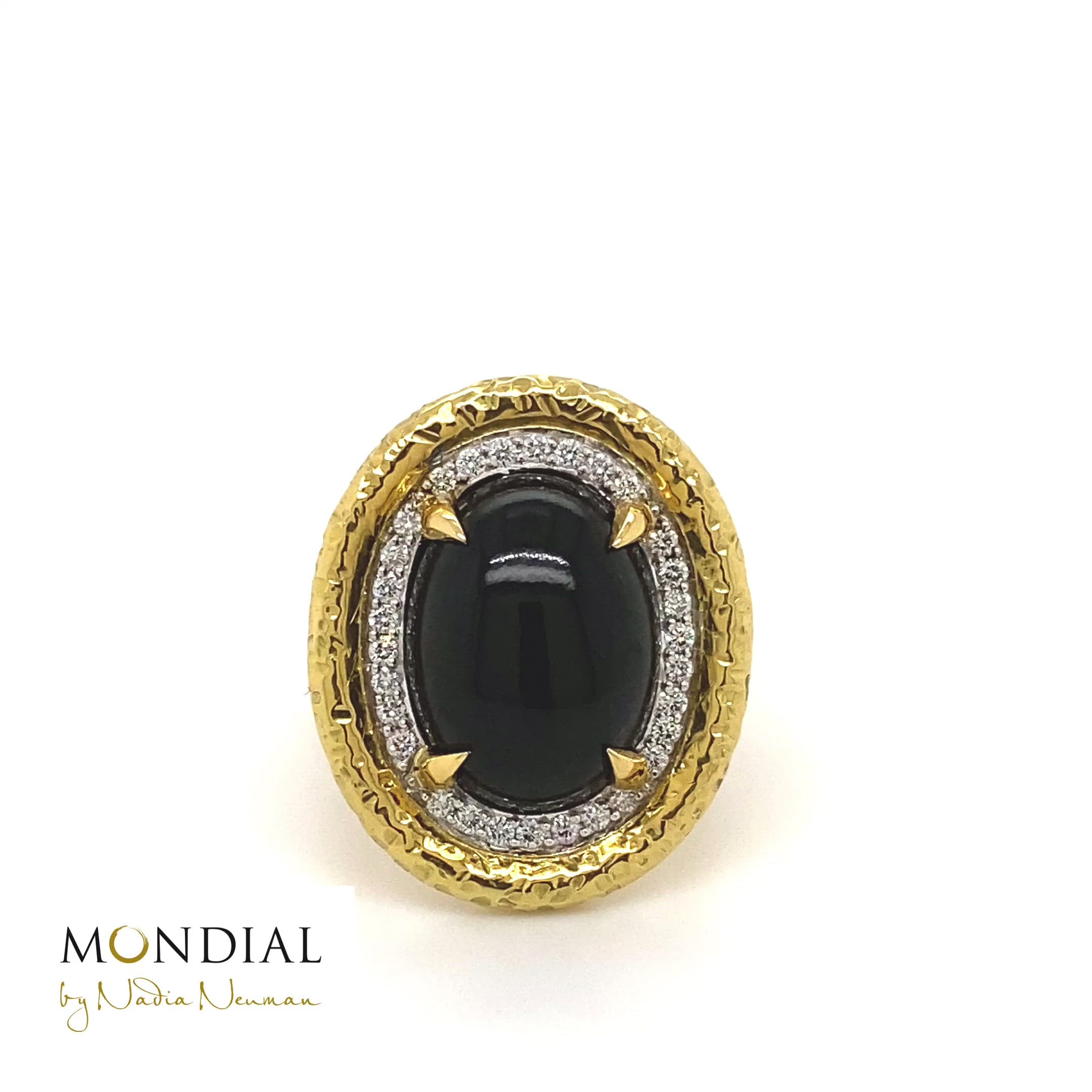 Australian Cabochon Black Jade & Diamonds in Beaten Gold Design