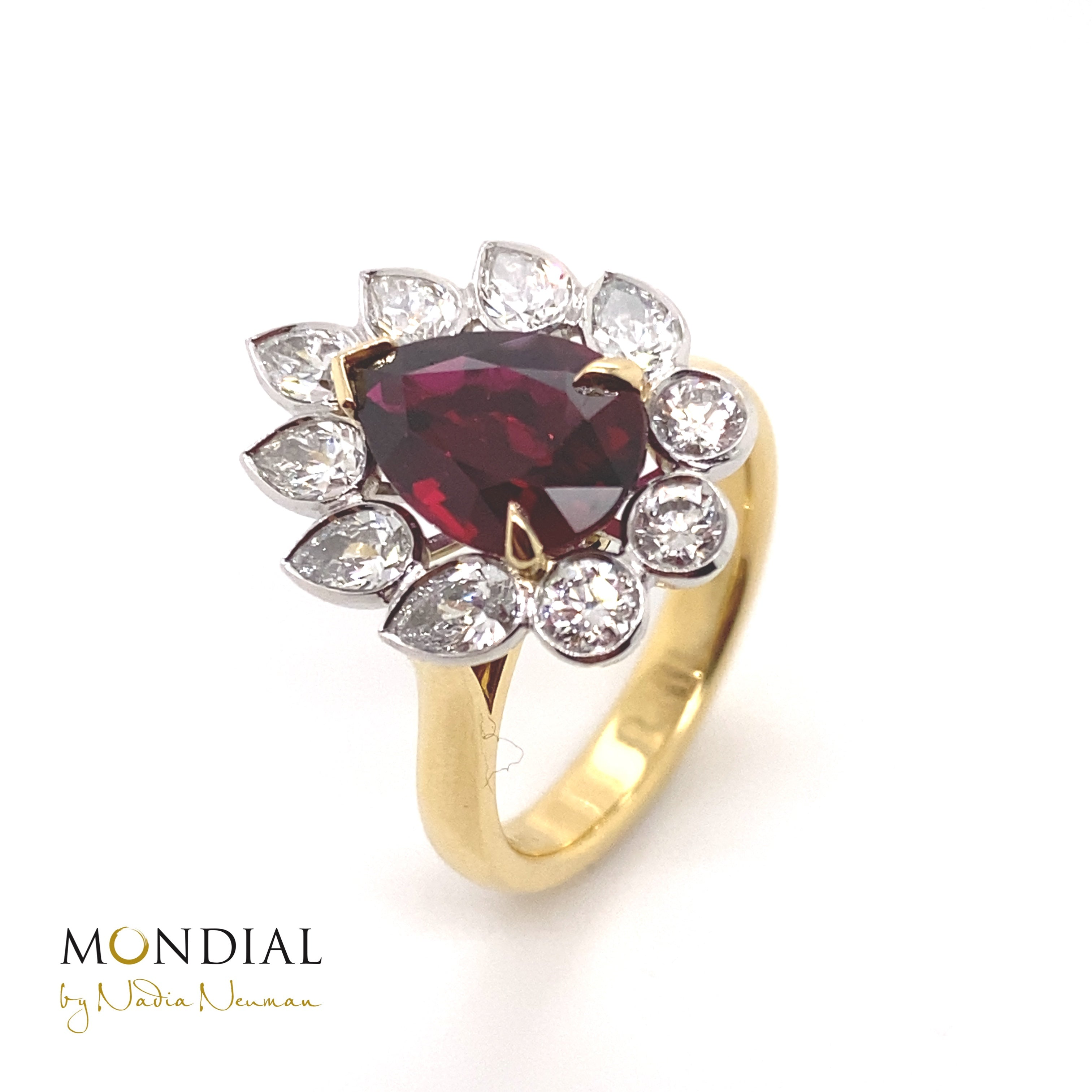 Pear Shaped Ruby & Diamond Ring