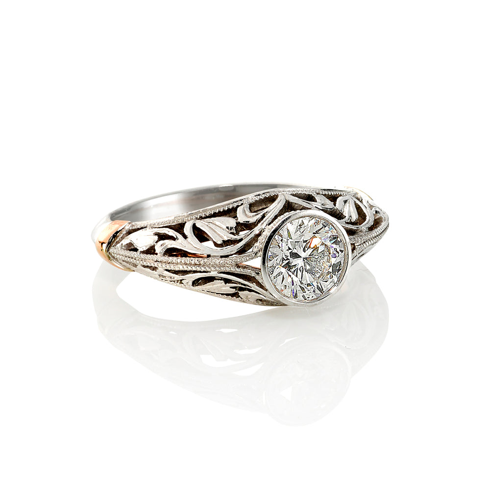 Vintage Filigree White Gold Diamond  Ring