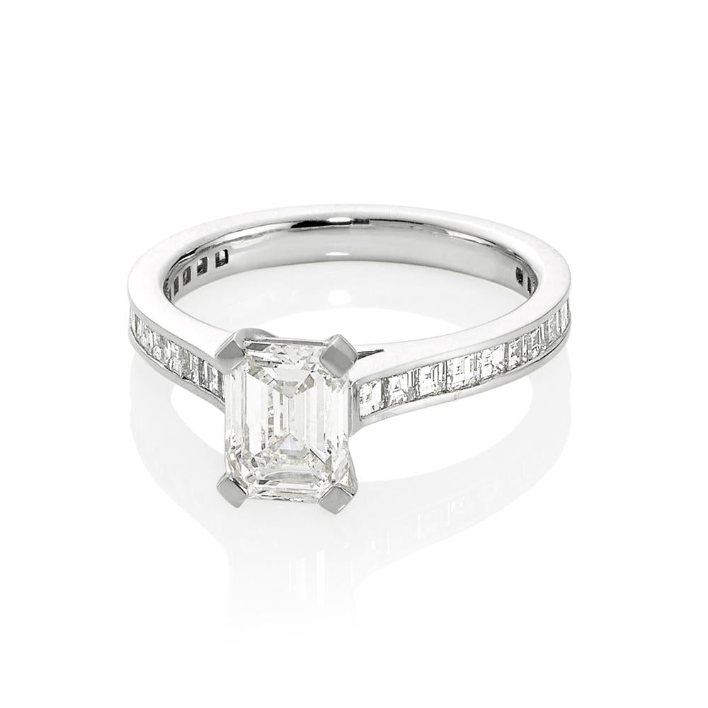 Emerald Cut Diamond Channel Set Ring