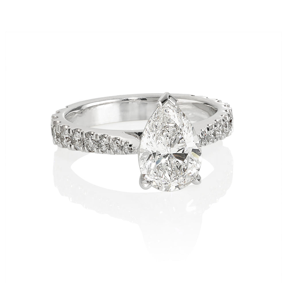 Pear Shaped White Diamond Engagement Ring