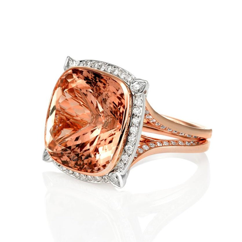 26 Carat Cushion Cut Morganite & Diamond Cocktail Ring