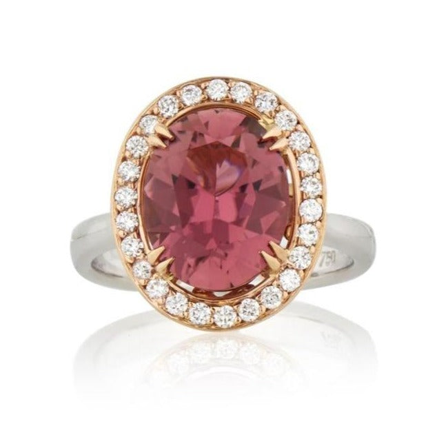 Oval Cut Pink Tourmaline & Diamond Cocktail Ring