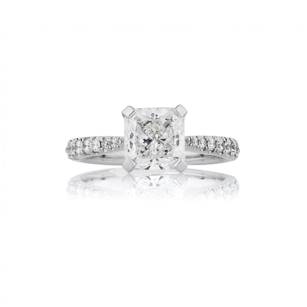 2.02 Carat Square Radiant Cut, Solitaire Diamond Engagement Ring