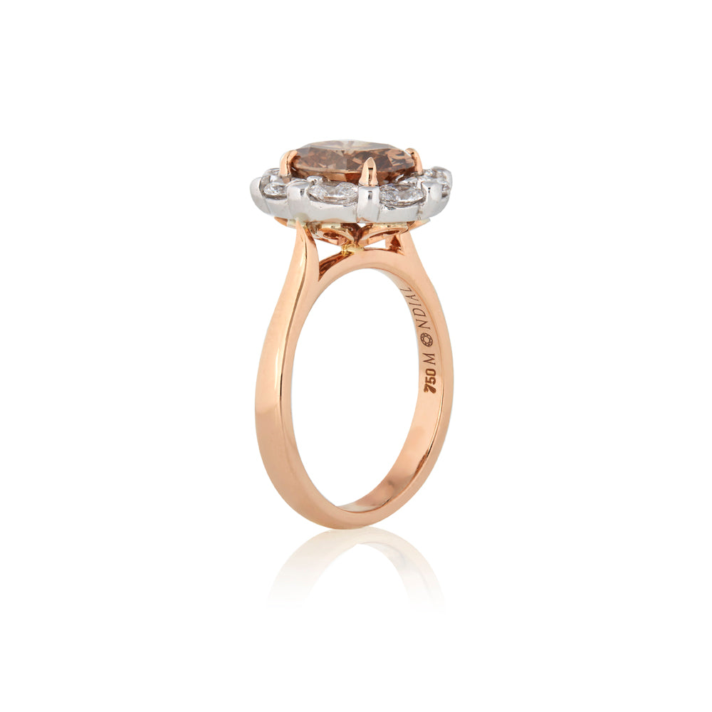 Natural Certified 2.03 Carat Oval Cognac Argyle Diamond Engagement or Dress Ring
