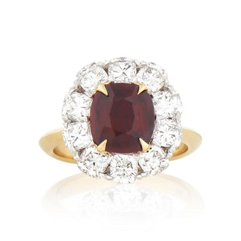 Cushion Cut Ruby & Diamond Ring