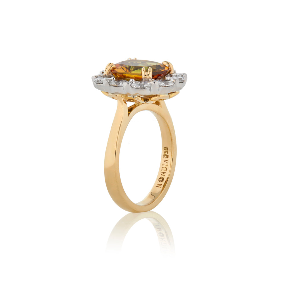 Natural Certified 4.46 Carat Oval Cut Golden Sapphire and Oval Halo Diamond Ring