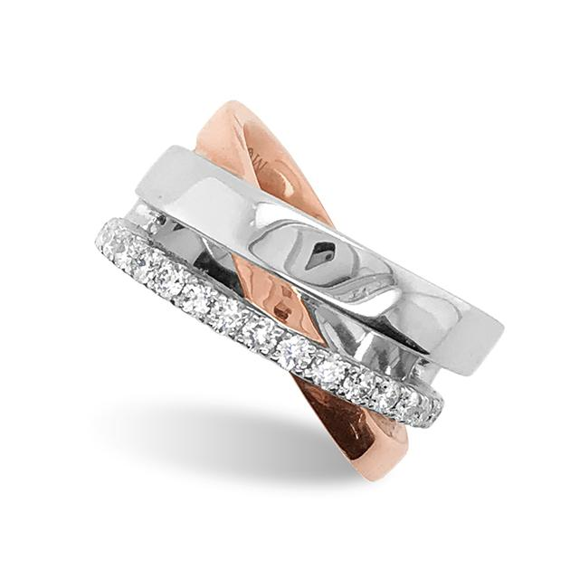 Rose & White Gold Multiband Crossover Ring