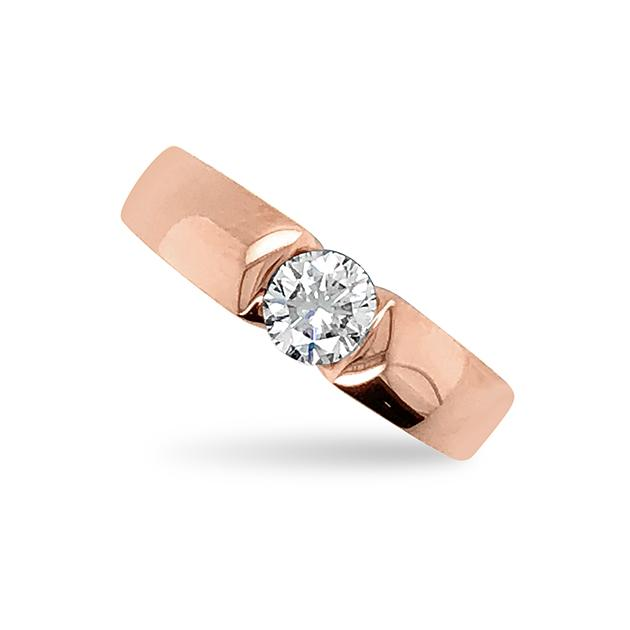 Rose Gold and Brilliant Cut Diamond Open Profile Ring