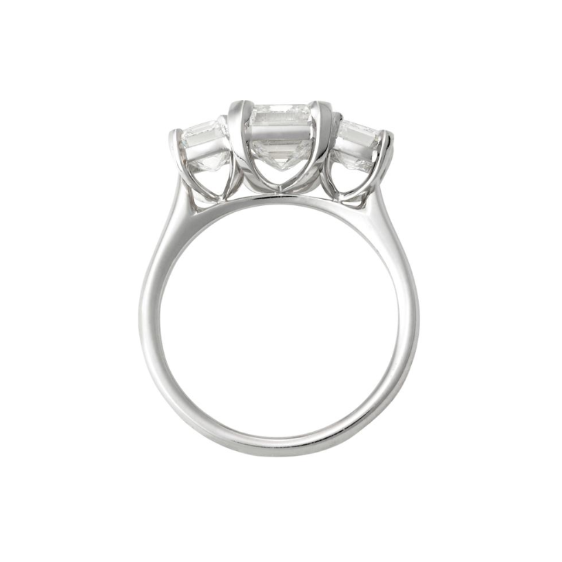 Trilogy Emerald Cut Diamond Ring