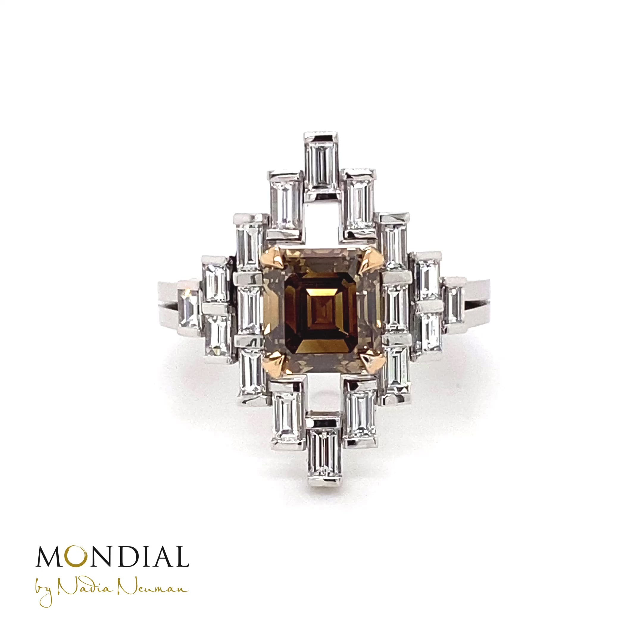 Manhattan Design Australian Argyle Cognac Diamond and baguette diamond ring