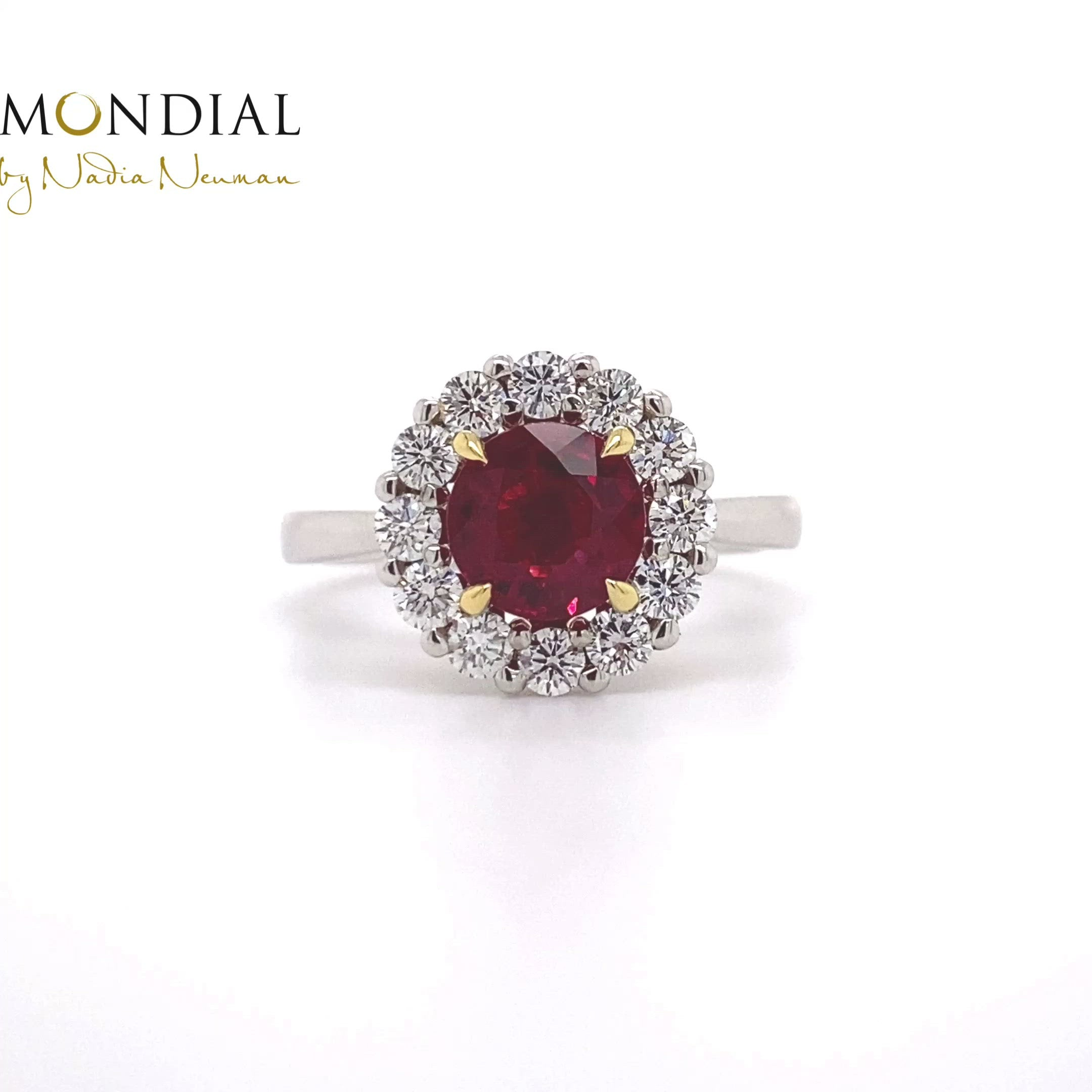 Round Ruby and Diamond Halo Designed Ring
