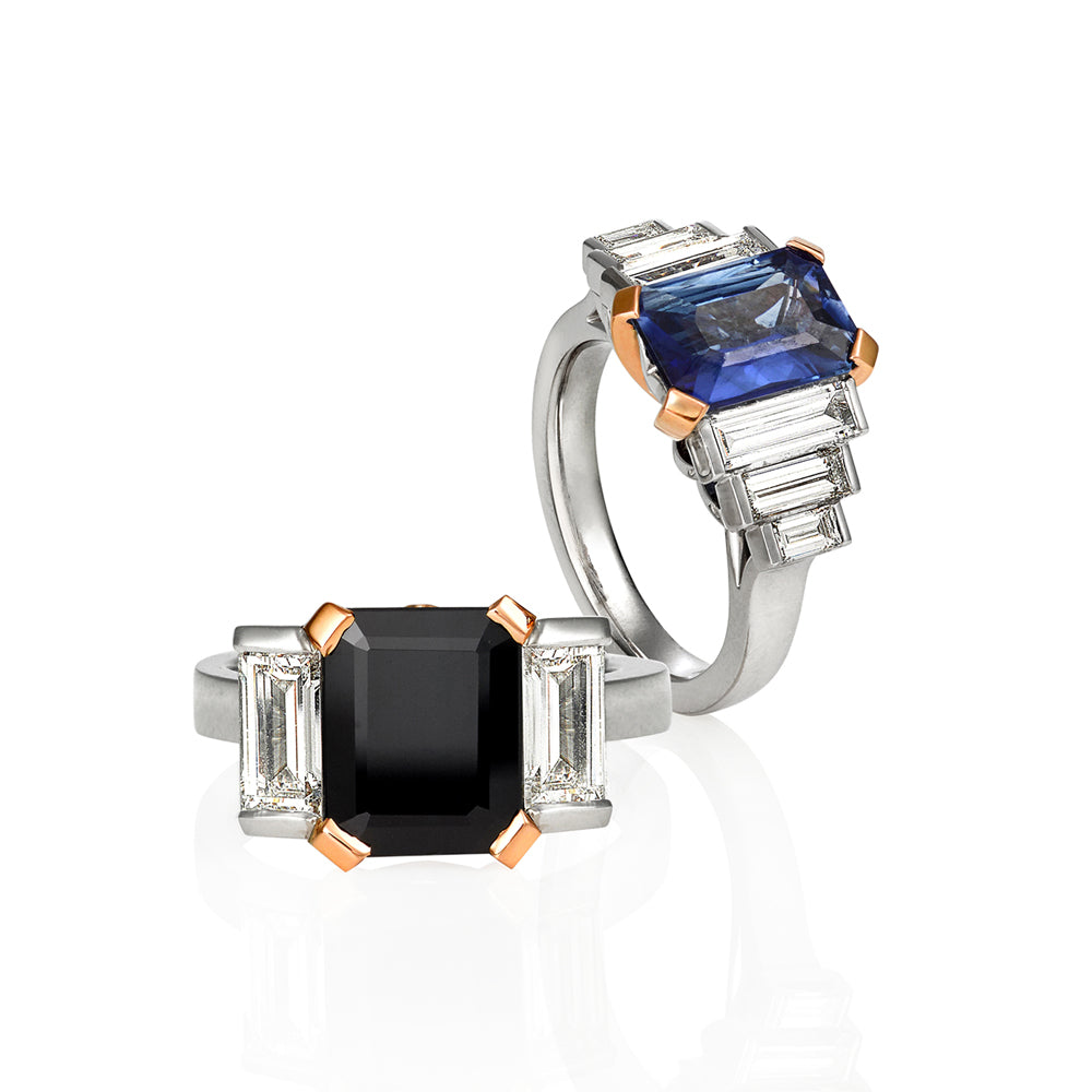 5.97 Carat Black Sapphire Emerald Cut with Baguette Diamond Ring