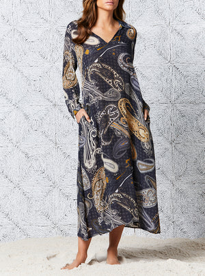 Load image into Gallery viewer, Carmel Long Iris Dress