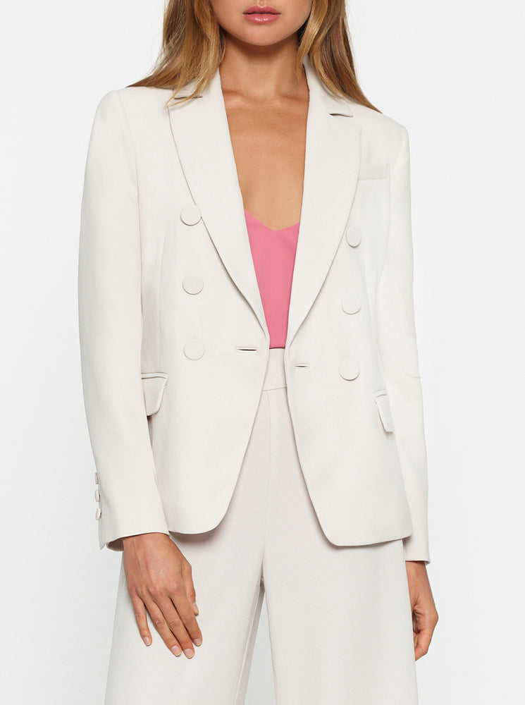 Borderline Double-Breasted Structured Blazer