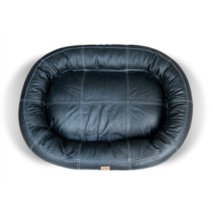 Small Leather Dog Bed - Black