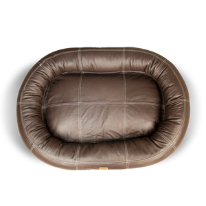 Small Leather Dog Bed - Walnut Brown