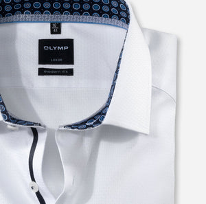 Chemise Olymp Luxor coupe droite blanche sans repassage