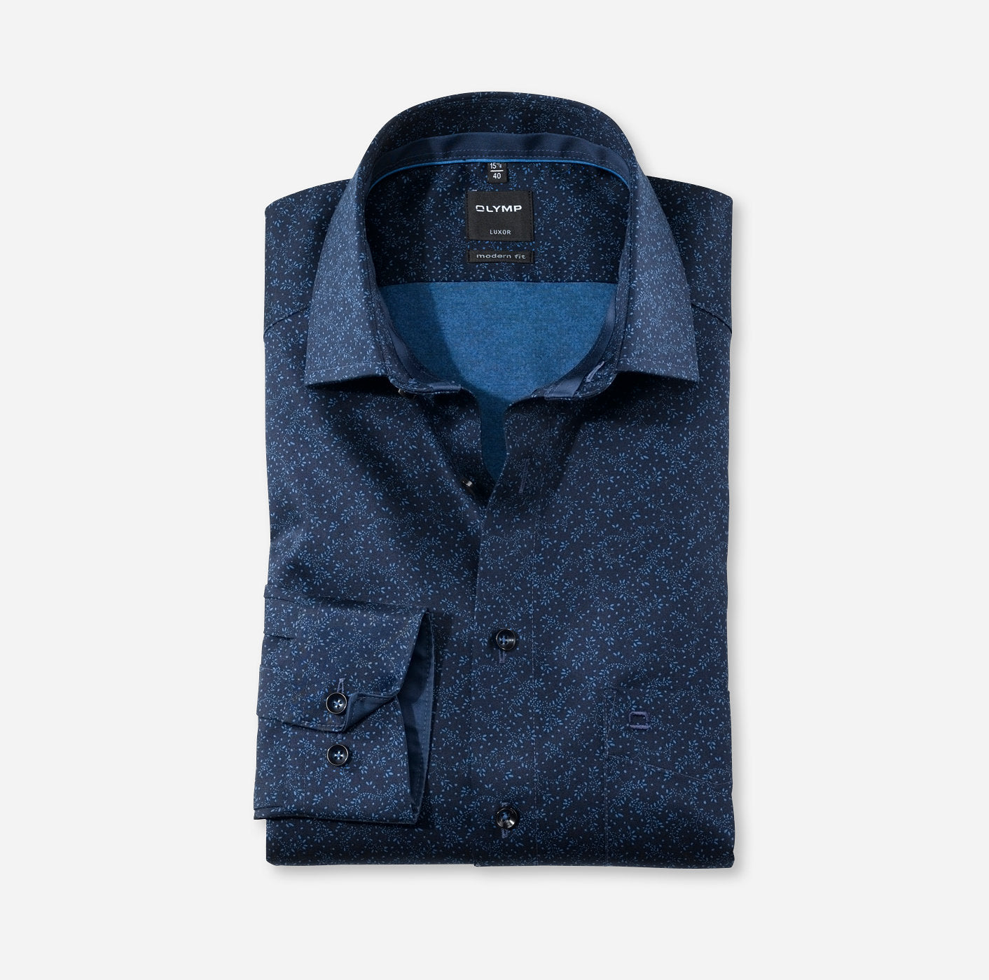 Chemise Olymp Luxor coupe droite sans repassage marine