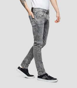 Jeans slim Hyperflex Replay gris délavé