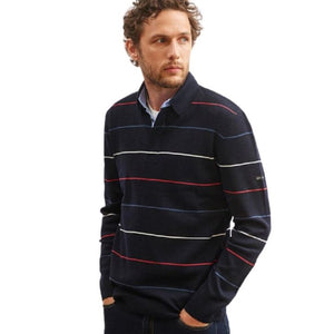 Polo manches longues rayures marine laine