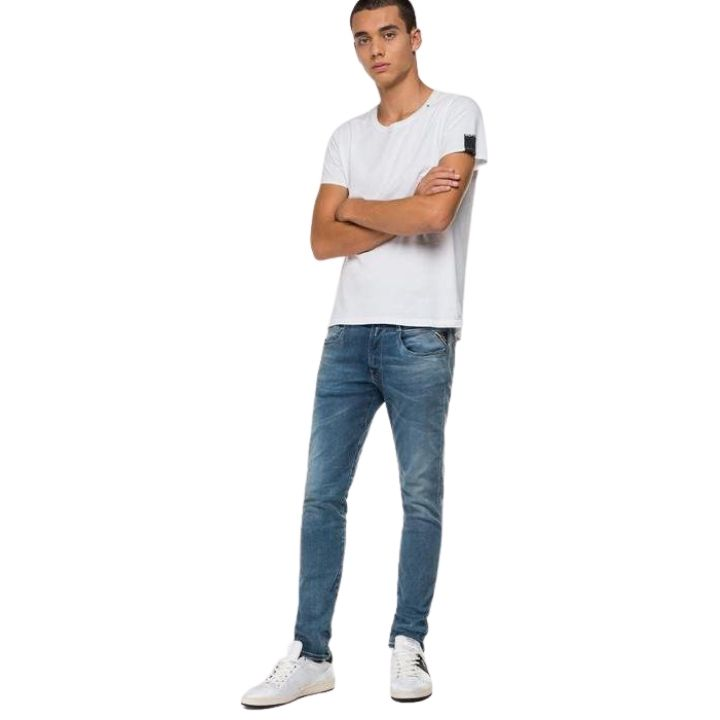 Jeans slim Hyperflex Replay noir coton bio
