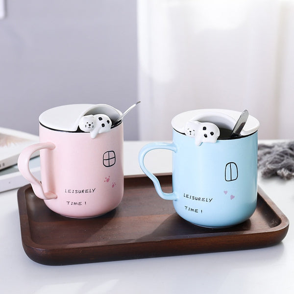 Asmwo Cute 3D Cat Mug Funny Ceramic Coffee Tea Mug with Stirring Spoon