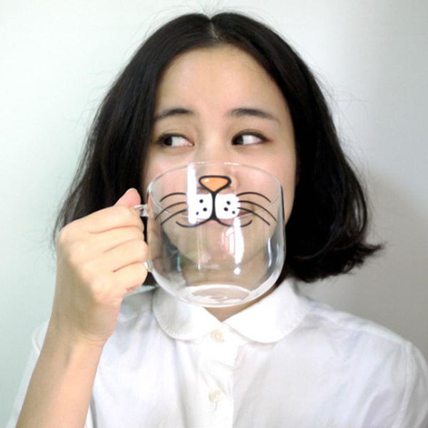 The Original Cat Face Mug - Cute and Funny Glass Coffee