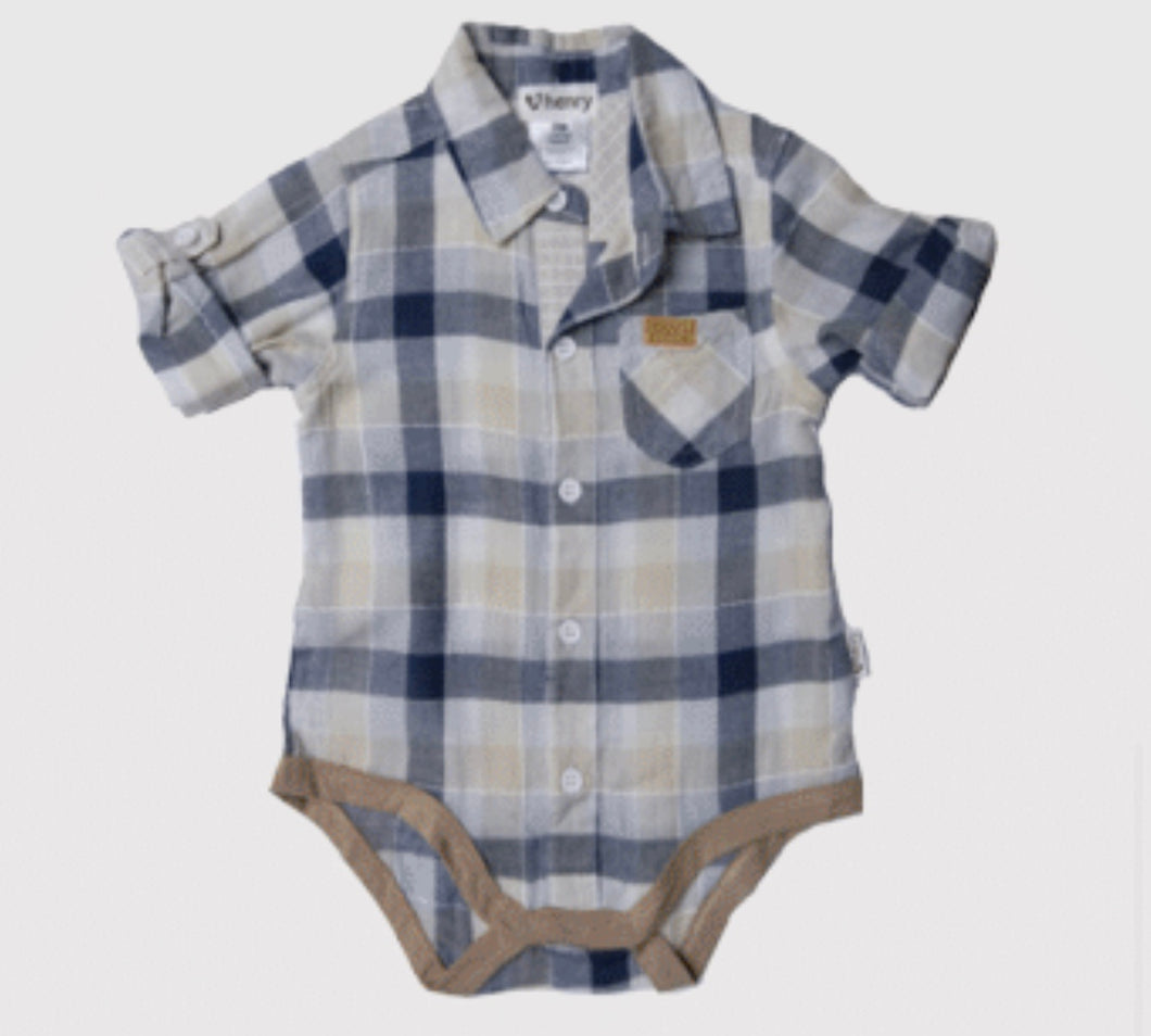 Love Henry Shirt Romper - Blue/Taupe Check