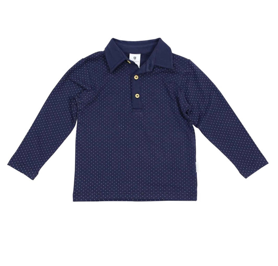 Korango Classic Long Sleeve Polkadot Rugby Top - Navy