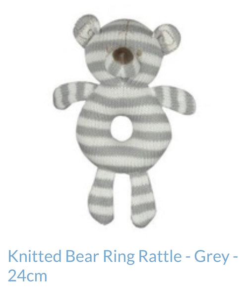 ES Kids Knitted Bear Ring Rattle